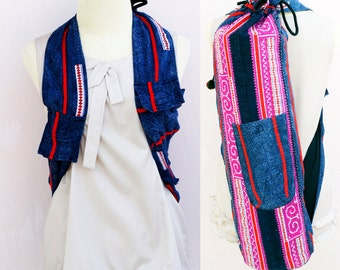 YOGA MAT BAG  Yoga Bag Yoga Tote Yoga Bag Women  Handmade Embroidered Pieces Of Tribal Costume.Yoga Backpack and Handbags.( 2in1 )