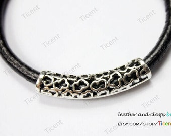 2pcs 6mm Hole Antique Silver Hollowed Tube for Bracelet and Necklace, 40mm Long