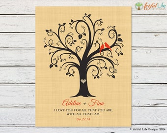 Custom Wedding Gift, Personalized Love Birds Family Tree Art, Personalized Wedding Gift, Anniversary Engagement Newlywed Gift for Her Him