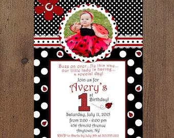 Fancy Ladybug Photo Birthday Invitation