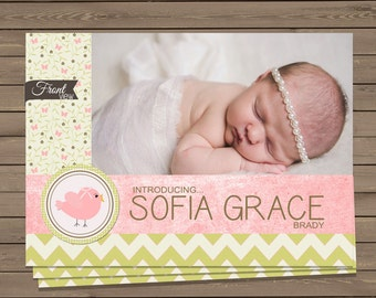 Customized 4 Photo New Baby Birth Announcement Two Sided - Digital File  - Little Bird