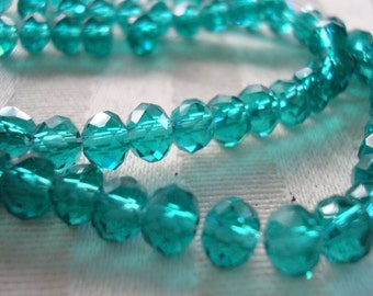 90 Peacock Green Crystal Rondelles. 6x4mm  16.75 inch Strand. Emerald Green, Malachite Green Translucent Rondelles  ~USPS Ship Rates/ Oregon