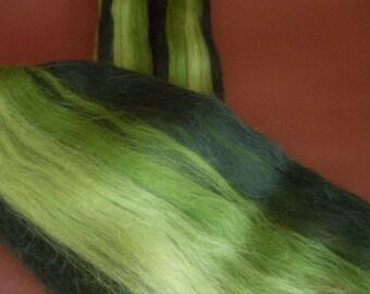50gr- 1.76 oz Multicolour Merino Wool Roving/Top 21 Micron (Shades of green)