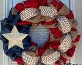 4th of July Wreath-Fourth of July Wreath- Red White, Blue Burlap Wreath-  Wreath- Patriotic burlap wreath- Millitary Wreath - Star Wreath