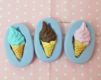 ICE CREAM MOULD 2.0 cm flexible silicone 3d Gelato miniature dollhouse charm kawaii polymer clay jewelry soap resin plaster  ST177