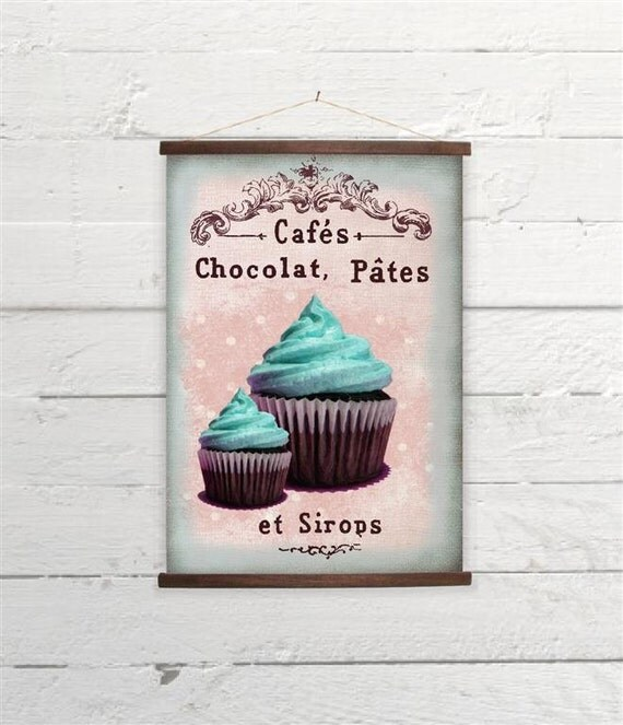 Teal Cupcake Kitchen Decor Canvas Poster Print Wooden Wall