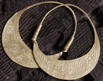 Handmade Hmong Earrings Hoop Loop Hill Tribe Light Engraved Threader Asian Tribal