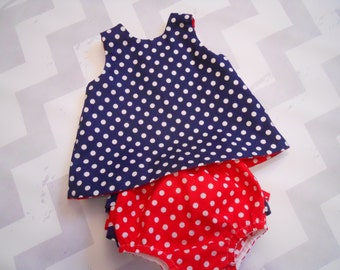 Infant/Toddler July 4th Dress With Ruffled Bloomers, Red and Navy Polka Dot. Dress is Reversible