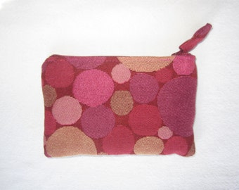 Zippered Pouch, Change Purse, Gift Card Case in Modern Pinks and Magenta