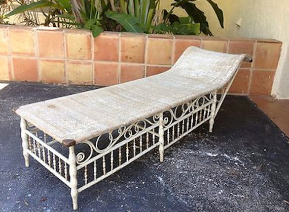 Items similar to antique heywood wakefield wicker chaise for Antique wicker chaise lounge