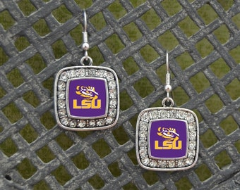 LSU Tigers Square Earrings