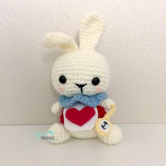 Crochet Doll Scarf Pattern Free : Crochet White Rabbit Amigurumi Doll from Alice in Wonderland