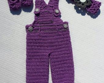 Crochet 3 piece overall set