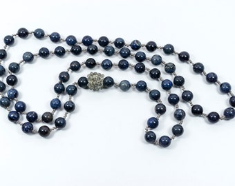 Hand Knotted Dumorite and Hand Crocheted Labradorite Bead Necklace