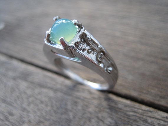 Vintage Inspired Ocean Engagement Ring with Aqua ...
