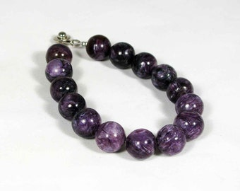 Natural Charoite bracelet purple beads, chakra healing stone