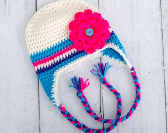 little girl flower hat baby girl hat toddler girl hat earflap flower hat