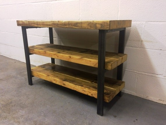 Industrial Chic Reclaimed Tv Stand Media Centre Coffee Table 079 Steel,Wood  Steel and Wood - Industrial Chic Reclaimed Tv Stand Media Centre Coffee Table