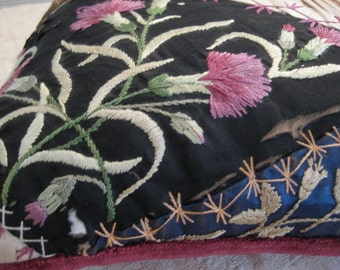 Vintage Crazy Embroidered Pillow Opportunity