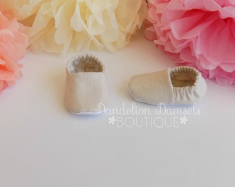 Beige Linen Look Fabric Shoes/Baby Booties/Crib Shoes/Soft Sole Slippers