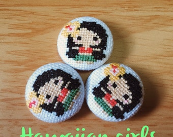 Cross stitch covered buttons/brooches/magnets - Hawaiian girls