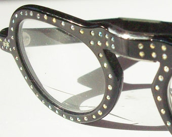 Vintage Foldable Frames from the 1950's / Great Condition / Rhinestones with Black