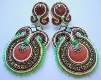 Soutache Earrings Beige - Brown