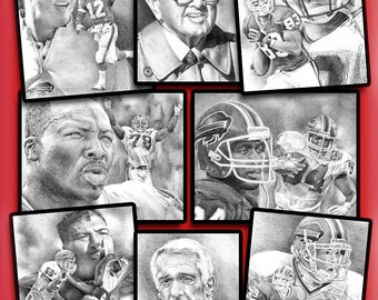 """1990's Era Buffalo Bills Print Limited Edition signed and numbered by the artist 16""""x20"""""""