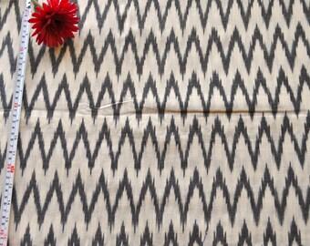 Off white Zig zag Chevron Ikat fabric yarn dyed fabric by the yard