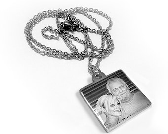 Stainless Steel Photo Engraved Square Pendant