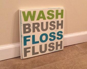 Bathroom Rules - wood wall art