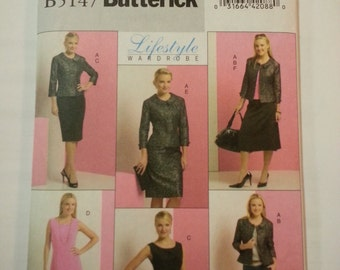 Mother bride outfit /Office/formal dress/short jacket/dressy tops/skirt  2007 sewing pattern, Size 8 10 12 14, Bust 34 36 38, Butterick 5147