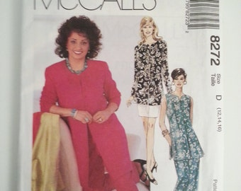 Mother of the bride dress/90s jacket vest/long sleeve dress /1996 vintage sewing pattern, Bust 34 36 38, Size 12 14 16, McCalls M 8272