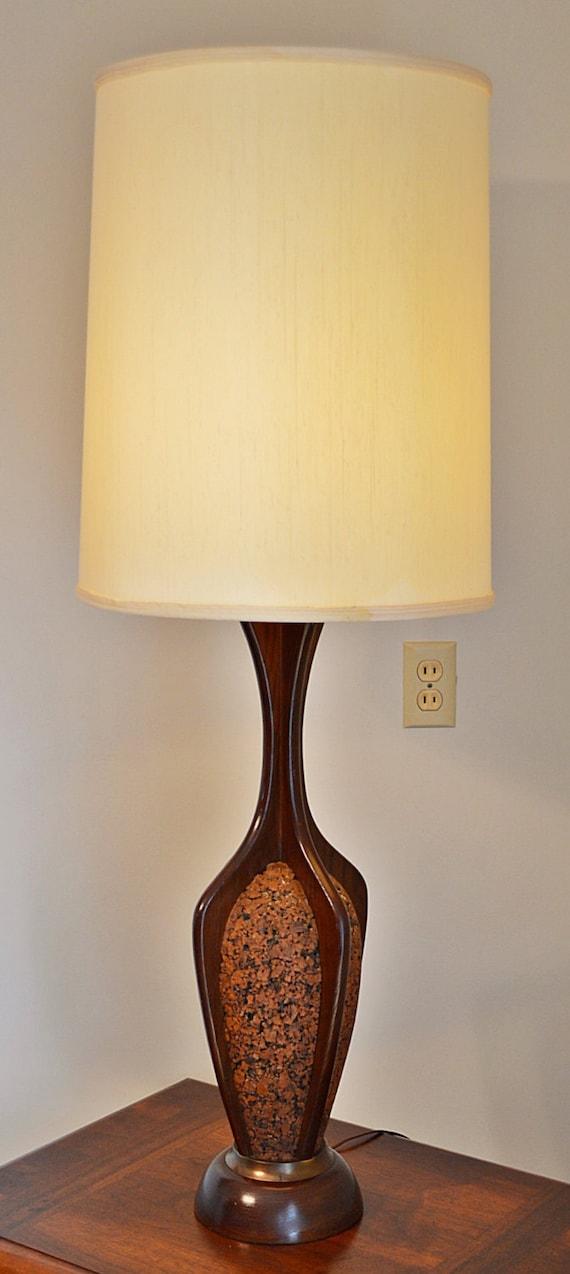 large mid century danish wood and cork table lamp 48. Black Bedroom Furniture Sets. Home Design Ideas