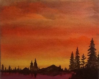 "Original 11"" x 14"" Acrylic landscape Painting on canvas panel.  ""Fire Lake"""