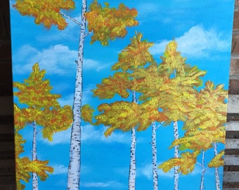 "Original 24"" x 36"" acrylic Aspen Tree painting on wrapped canvas. ""Aspen Gold"""