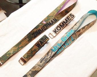 Custom Military Name Tape Lanyard. ABU, ACU, Marpat Desert and Woodlands, NWU, Multicam, Red, Coast Guard Blue. Customizable.