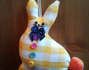 Hand made yellow gingham check Fabric Bunny Rabbit hanging decoration filled with home grown lavender