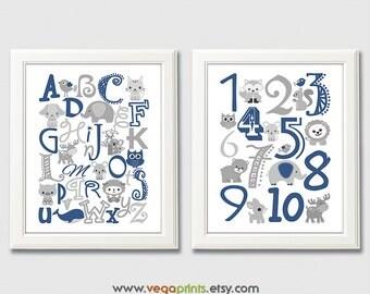 Navy and grey animal Alphabet and numbers nursery art print - UNFRAMED - light blue, nursery wall art, kids room decor, 123, abc