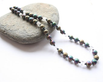 Hematite necklace, gemstone necklace, rainbow necklace, rainbow hematite, mothers day gift