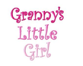 Granny's Little Girl  - Machine Embroidery Design - 4x4