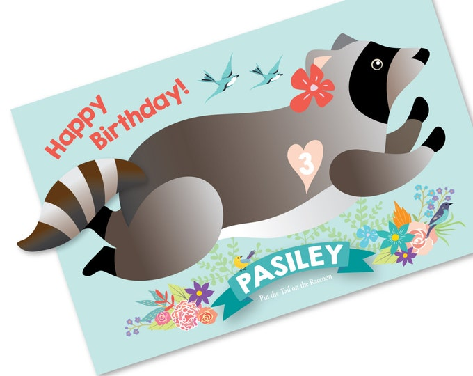 Pin the tail on the RACCOON- party game - DIY party game - birthday party game - raccoon game