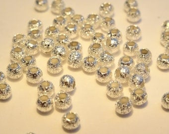 100 Stardust Ball Spacer Beads Silver Plated 3mm - BD77