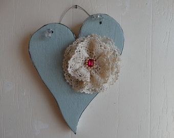 Heart wooden with vintage lace, Shabby Chic, Shabby Cottage Decor