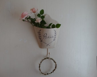 Wall Pocket, metal, Shabby Chic, French Inspired, Shabby Cottage decor