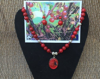Red Beaded Necklace & Earring set