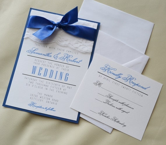 Set Of 20 Royal Blue Wedding Invitation White And