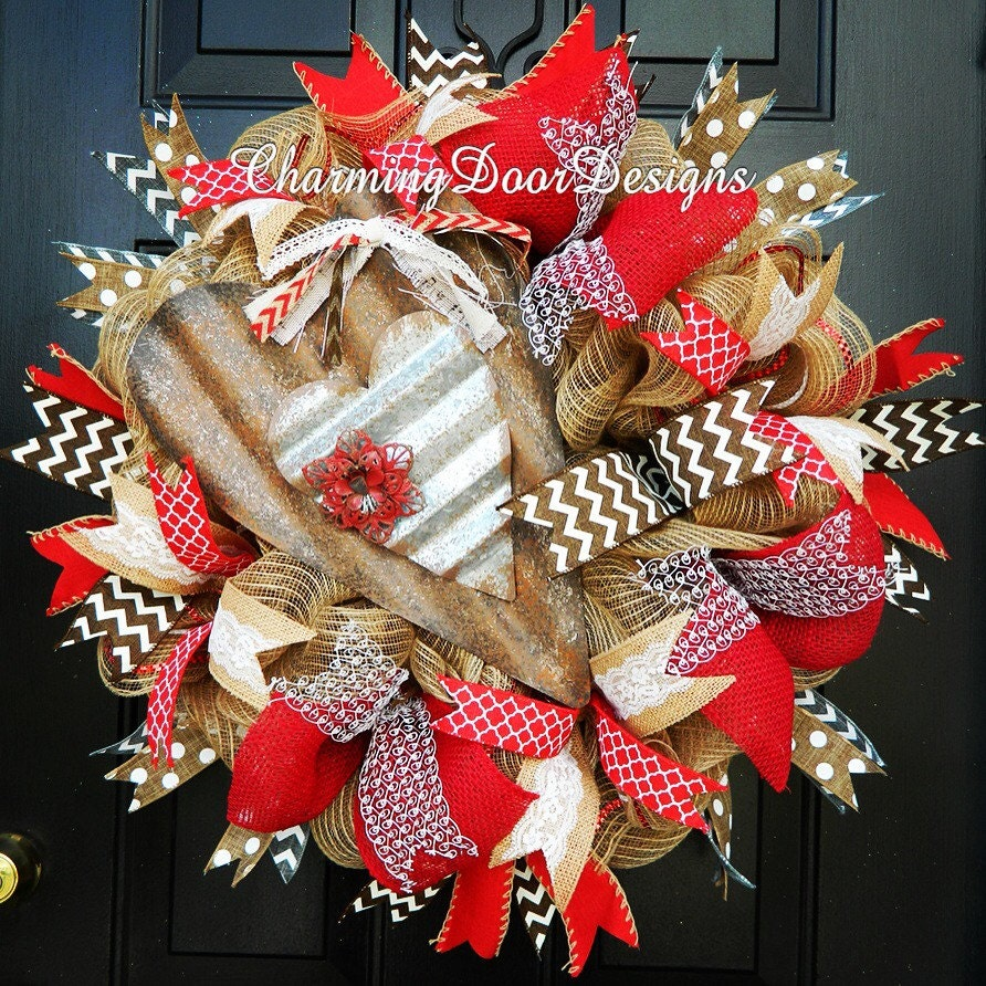 Heart Burlap Mesh Wreath Everyday Door Decor Everyday Rustic