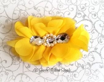 "Yellow Flowers - Beaded Chrystal Chiffon Flower - Fabric Flower - Pearl Chrystal Flowers - Rosettes - Headband - Supplies - DIY- 5"""