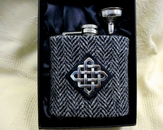 Scottish Wedding Gifts: Harris Tweed Hip Flask Grey Mens Gift Scottish Made In
